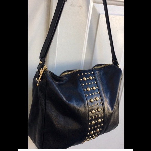 f3f9584ce83 Badgley Mischka Bags   Black Leather Gold Stud Handbag   Poshmark